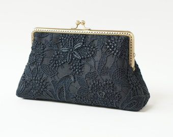 Cocktail clutch /  Black Lace clutch with Wristlet Chain / Formal purse / Bridal Accessories