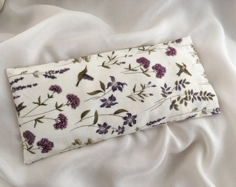 Eye Pillow - LAVENDER and Organic Flax Seed - Lavender Botanical Birds