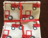 Red Tractor Baby Burp Cloths