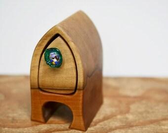 wooden box. wood box. tasmania. glass drawer knob. little wooden box. bandsaw box. black heart sassafras. arch box. keepsake