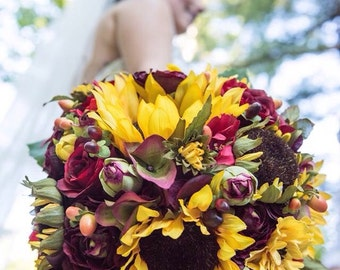 Sunflower Fall Wedding Bridal Bouquet made with silk flowers at Holly's Flower Shoppe.