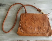 Vintage Cutout Purse / Brown Leather Purse / Leather Clutch / Floral Leather Purse / Hippie Purse / Crossbody bag / Flat Leather Clutch
