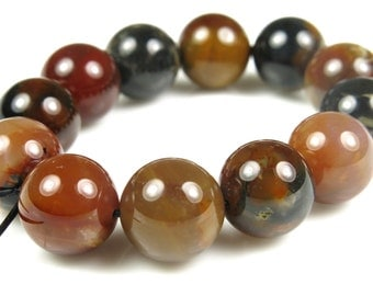 BARGAIN - Fabulous Coffee Agate Round Bead - 10mm - 12 Pieces - B4495