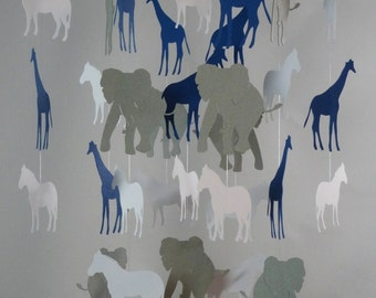 Safari Baby Mobile in White, Gray and Blue with Giraffes, Zebras and Elephants