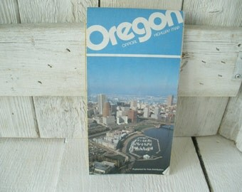 Vintage Oregon highway map official folded cities towns 1988