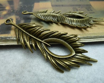 10pcs 28x72mm The Leaves   Antique Bronze Retro Pendant Charm For Jewelry Bracelet Necklace Charms Pendants C6731