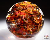 Blown Glass Paperweight - Contoured Dark Hot Color Swirls with Ribs and Bubbles