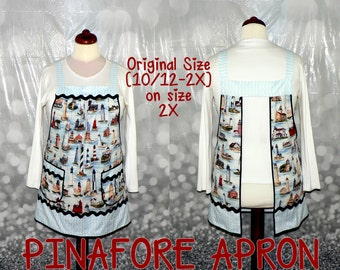 """LIGHTHOUSES Pinafore Apron """"no tie apron"""" - all day apron, XS to Plus Size available"""