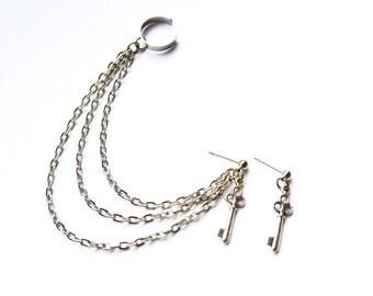 Silver Key Triple Chain Ear Cuff Earrings (Pair)