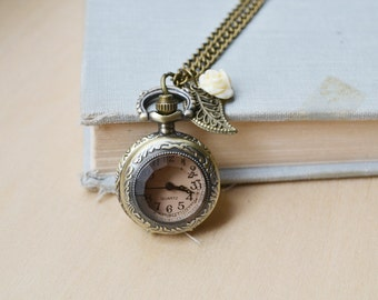 Amber Pocket Watch and Ivory Rose Necklace