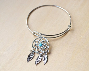 Silver and Blue Feather Dreamcatcher Wire Bracelet