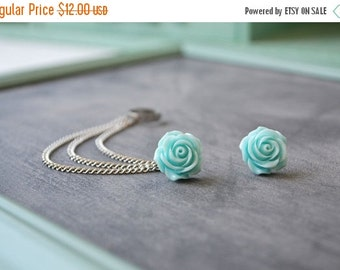 VALENTINES DAY SALE Sweet Blue Rose Bloom Triple Silver Chain Ear Cuff (Pair)