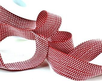 "Red Ribbon Damask 1 1/2"" width 5 yards"