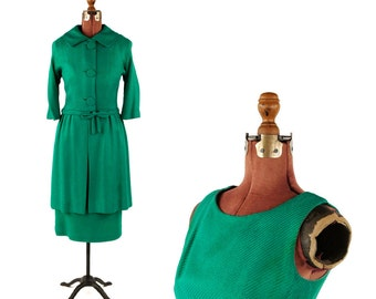 Vintage 1950's Kelly Green Two Piece Hourglass Dress + Matching Jacket Cocktail Coat Set S