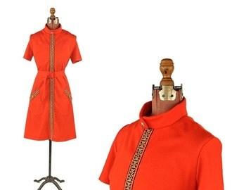 ON SALE Vintage 1960's 1970's Bright Fire Red Mod Ethnic Geometric Trim Shift Scooter Pocket Dress M