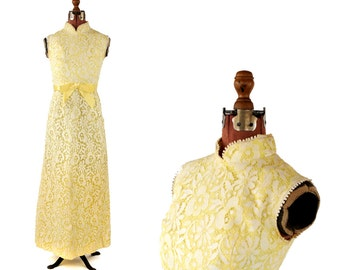 Vintage 1970's Sunny Yellow Sheer Floral Lace Sleeveless Romantic Summer Maxi Party Dress S