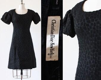 Christian Dior Dress / 1960s Christian Dior Dress / Silk and Wool Dior Dress / Dior Black Silk Dress / Extra Small to Medium / XS S M / mini