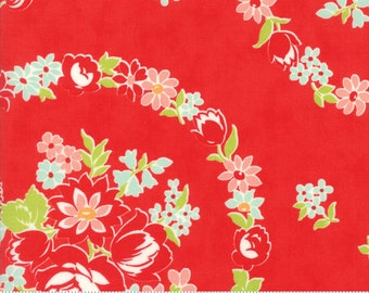 Handmade cotton red fabric by Bonnie and Camille for Moda fabric  55140 11