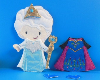 Elsa Frozen felt non paper doll with 2 outfits and accessories
