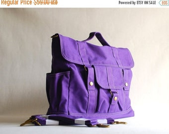 Back To School SALE - 30% Pico2 BackPack in Purple (Water Resistant) Shoulder Bag / Satchel / Rucksack / Messenger Bag/Diaper Bag/ School Ba