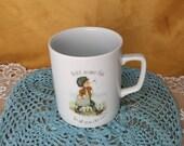 Vintage Holly Hobbie Porcelain Mug 1976 - Add Some Fun to All You Do - newspaper boy newsboy