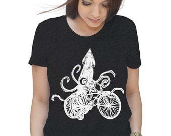 Womens Squid on a Bike T-Shirt - Squid T Shirt - Bike Shirt - Bicycle T Shirt Gifts For Bicyclists Ladies T Shirt Tentacles Shirt