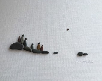 12 by 16 family of 6 pebble art by sharon nowlan