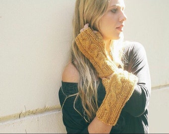 Cabled Fingerless Gloves - Available in 5 Colours