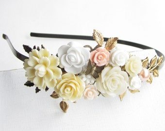 Haarreif,hair band,head band,Wedding,Bridal Headband,cream Blush Hairband, Floral Head Piece, Romantic Flower, Bohemian, Woodland Chic