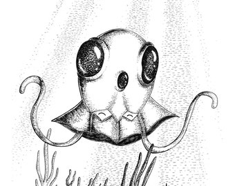 Tentacool- A4 (approx 8x12) pokemon inspired art print by Jon Turner- cute geeky artwork- FREE WORLDWIDE SHIPPING