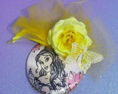 Yellow Watercolor Princess Fascinator With Rose and Butterfly Perfect for Spring- Original Design By Hat and Mouse