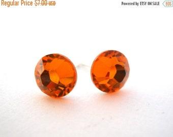 SALE Orange Stud Earrings, Orange Earrings, Orange Post, Tangerine, Sun Color, Wedding, Swarovski Crystal, Bridesmaid Gifts, Bridesmaid Earr