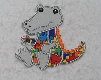 Alligator Autism Awareness Puzzle Piece (small) Tutu & Shirt Supplies - fabric iron on Applique Patch 7490