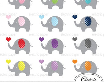 Elephant with Heart Clip Art - Elephants polka dot - Elephant - jpg and png files - eps file - personal and small commercial use