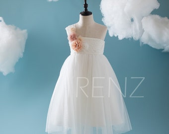 2017 Off White Junior Bridesmaid Dress, One Shoulder Lace Neck Flower Girl Dress, A Line Open Back Rosette Dress Floor Length (LK069)