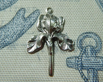 Large Iris Matte Silver Ox Charm Pendant One Sided Flowers Floral Jewelry Collage Altered Art