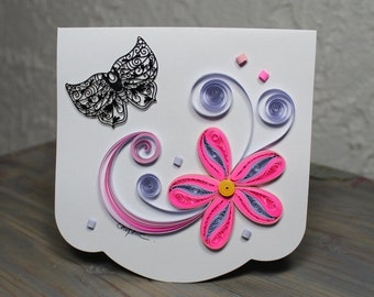 Quilled card/quilled flower/butterfly/blank card