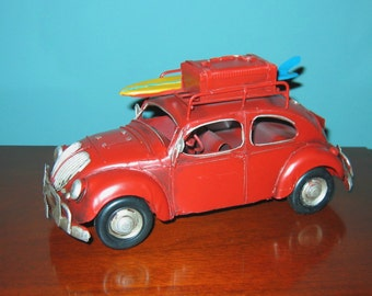 "VW Beetle Bug 9 1/2"" Long Surfer Model- Tin Model Love, PEACE and WOODSTOCK"