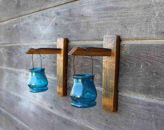 Reclaimed wine barrel stave wall art, wall decor, wall sconce set, candle holder, with glass candle holder, votive holder.