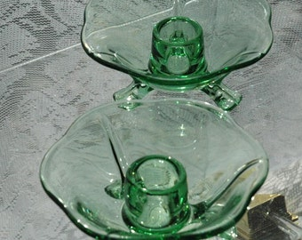 A Vintage Pair Fostoria Green Glass Blanks Tri-Footed Candle Holders - FREE SHIPPING