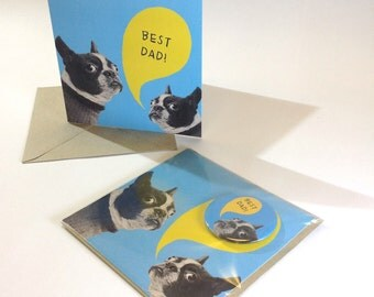 SALE - SEL - Best Dad Fathers Day French Bulldog Large Badge Blank Eco Friendly Square Greeting Card