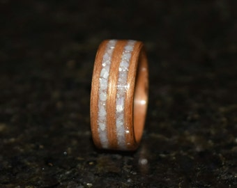 READY TO SHIP size 4 Hand Made (Bentwood Method) Cherry with Mother of Pearl Double Inlay Wooden Ring