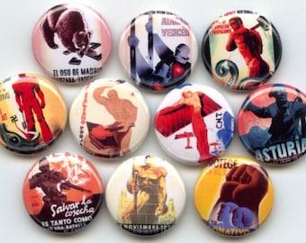 "Spanish Civil War Propaganda Posters 10 Hand Pressed Pinback 1"" Buttons Badges Pins"