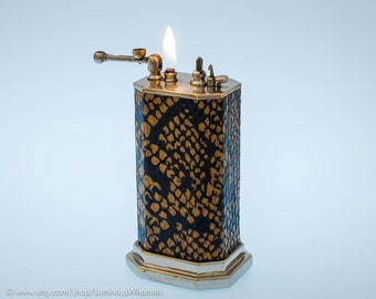 Working 1920s Douglass Automatic Table Lighter With Snakeskin Leather Covering