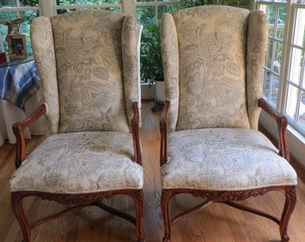 French Style Chairs in Ice Blue and Vanilla Cream Patterned Fabric - Totally Refurbished - Shipping Varies