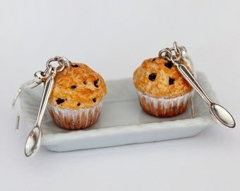 Blueberry Muffin Earrings  - Food Earrings - Cupcake Earrings - Miniature Food Jewelry - Kawaii Earrings