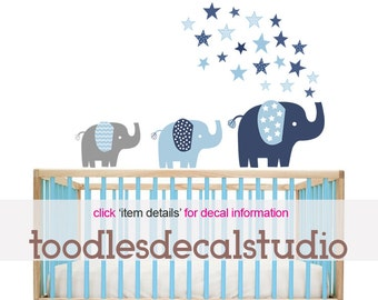 Elephant Wall Decal for Boys Room, Elephant Fabric Decals, Reusable Elephant Decal, Peel and Stick Elephant Art, Blue Elephant Wall Stickers