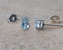 Aquamarine earrings - Genuine Aquamarine 6 x 4 oval studs in Sterling Silver or Gold