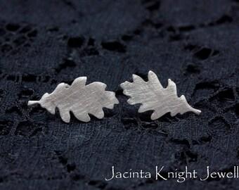 Small sterling silver oak leaf studs