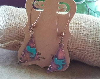Patina Hummingbird Earrings
